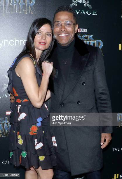 Jill Hennessy and Maxwell attend the screening of Marvel Studios' 'Black Panther' hosted by The Cinema Society with Ravage Wines and Synchrony at...