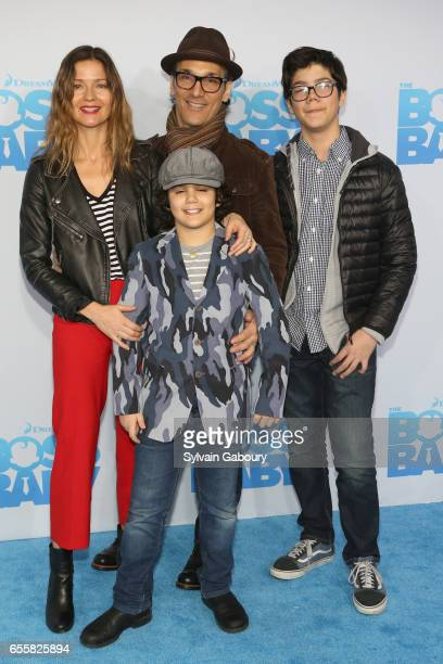 Jill Hennessy and Paolo Mastropietro Marco Mastropietro and Gianni Mastropietro attend The Boss Baby New York Premiere on March 20 2017 in New York...