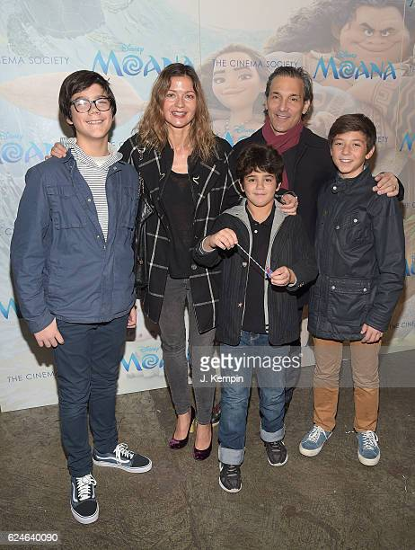 Jill Hennessy Gianni Mastropietro Paolo Mastropietro and Marco Mastropietro attend the Cinema Society Screening Of Moana at Metrograph on November 20...