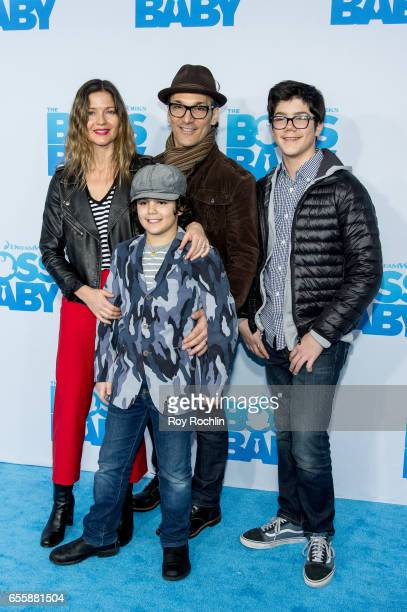 Jill Hennessy Gianni Mastropietro Paolo Mastropietro and Marco Mastropietro attend The Boss Baby New York Premiere at AMC Loews Lincoln Square 13...