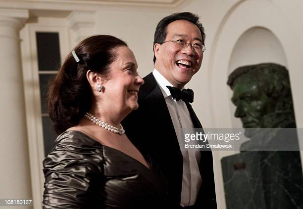 Jill Hornor and cellist Yo Yo Ma arrive at the White House for a state dinner 19 2011 in Washington DC President Barack Obama and first lady Michelle...