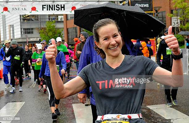 Jill Howard of Highlands Ranch gives the thumbs up after completing the 10 mile run. After being diagnosed with a baseball-sized Meningioma brain...