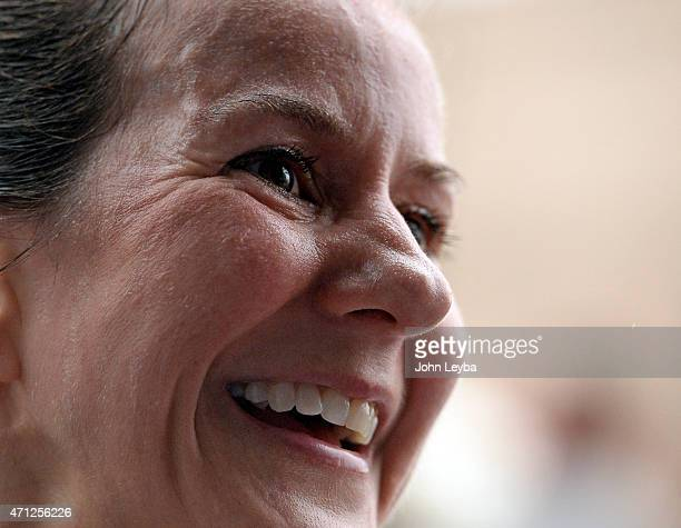 Jill Howard of Highlands Ranch smiles after completing the 10 mile run. After being diagnosed with a baseball-sized Meningioma brain tumor on October...