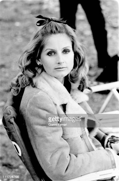Jill Ireland duringa break from the filming of the movie 'Wild Horses' directors John Sturges and Duilio Coletti First December 1972 Almeria Spain