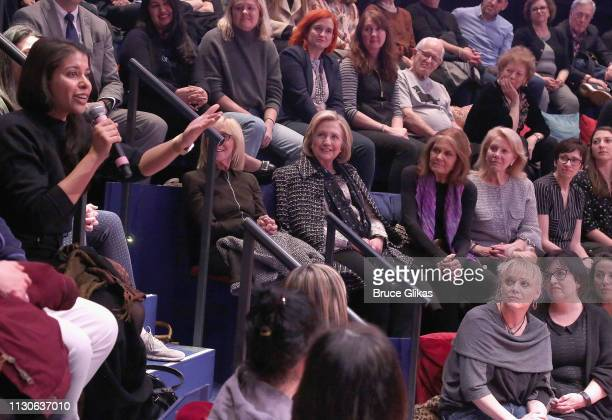 Jill Iscol Diane von Furstenberg Hillary Rodham Clinton Gloria Steinem and Producer Daryl Roth attend a performance of 'Gloria A Life' at The Daryl...