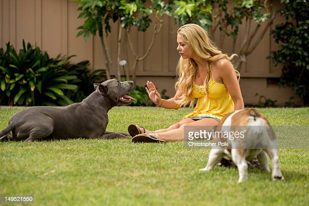 Jill Kussmacher plays with her dogs Tyson and Jolina during an at home photo shoot on July 16 2012 in Los Angeles California
