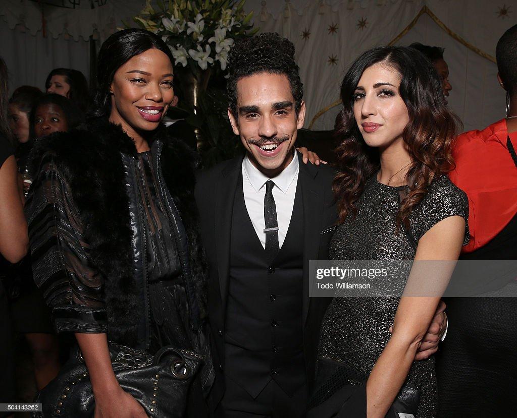 Jill Marie Jones, Ray Santiago and Dana DeLorenzo attend the Starz Pre-Golden Globe Celebration at Chateau Marmont on January 8, 2016 in Los Angeles, California.