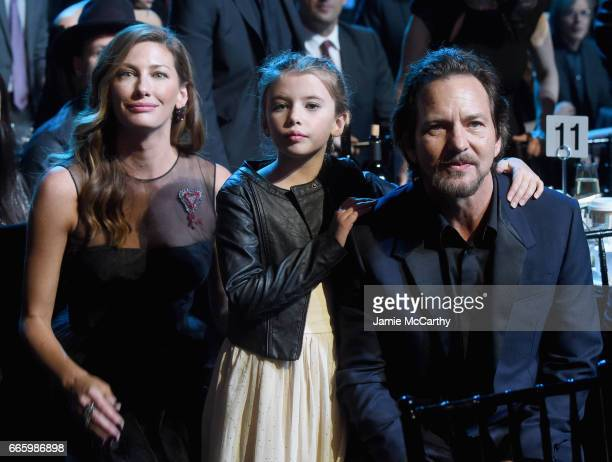 Jill McCormick Harper Vedder and 2017 Inductee Eddie Vedder of Pearl Jam attend the 32nd Annual Rock Roll Hall Of Fame Induction Ceremony at Barclays...