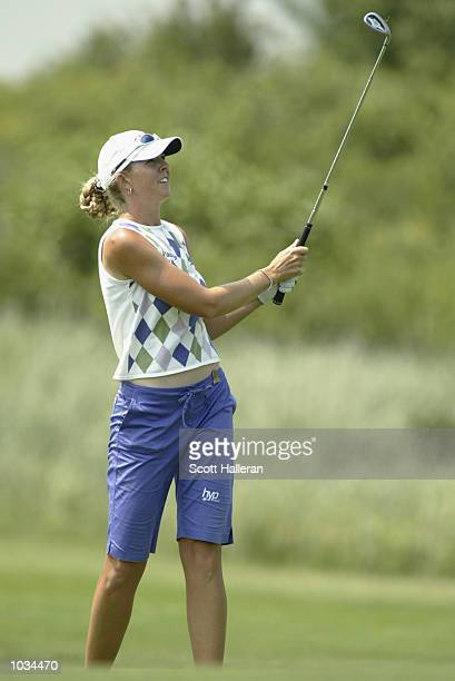 Jill McGill hits a shot during the third round of the US Women's Open on July 6 2002 at Prairie Dunes Country Club in Hutchison Kansas