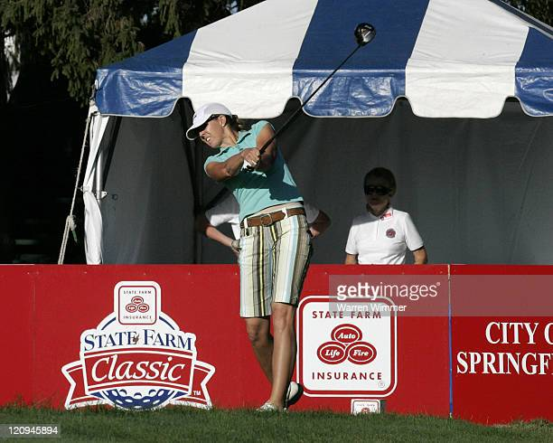 Jill McGill hits her tee shot off of the first hole during the third round of 2005 State Farm Classic at The Rail Golf Club Springfield Illinois...