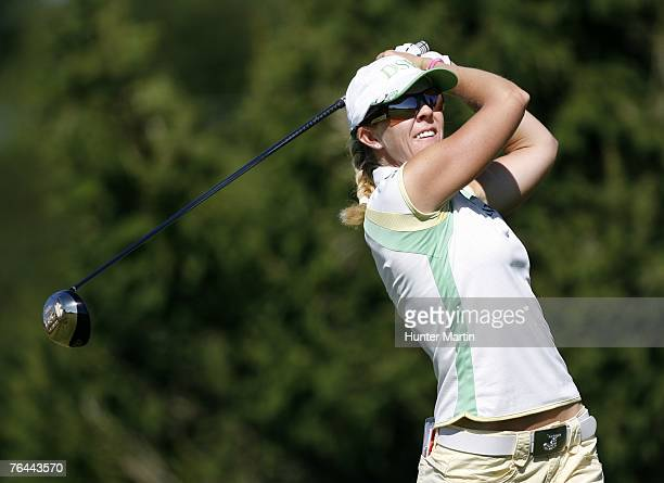 Jill McGill hits her tee shot on the 16th hole during the second round of the State Farm Classic at Panther Creek Country Club August 31 2007 in...