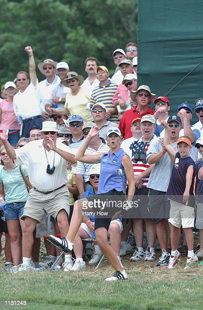 Jill McGill of USA reacts to her birdie chip on the 10th hole during the final round of the US Women's Open on July 7 2002 at Prairie Dunes Country...