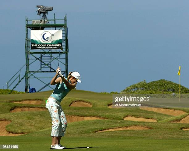 Jill McGill plays into the 17th green in the first round at the 2006 SBS Open at Turtle Bay in Kahuku Hawaii on February 16 2006