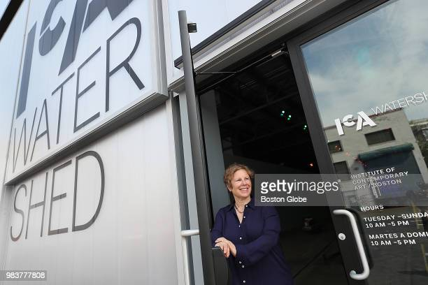 Jill Medvedow director of the Institute of Contemporary Art Boston stands in the doorway of the Watershed the museum's new exhibition facility in...