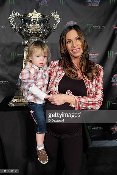 Jill Nicolini and son Austin attend the 2017 Professional Bull Riders Monster Energy Buck Off at the Garden at Madison Square Garden on January 6...