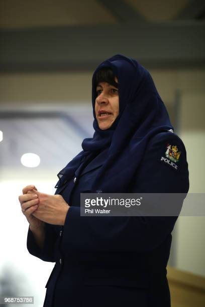 Jill Rogers District Commander for Counties Manukau speaks before an Iftar dinner at Counties Manukau Police Station on June 7 2018 in Auckland New...