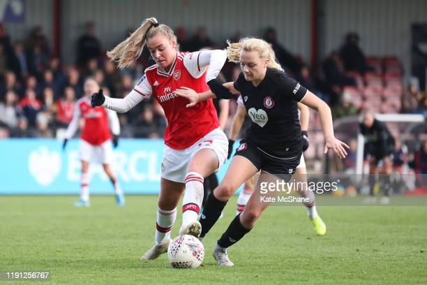 Jill Roord of Arsenal and Maisy Collis of Bristol battle for the ball during the Barclays FA Women's Super League match between Arsenal and Bristol...