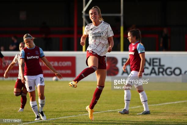 Jill Roord of Arsenal FC celebrates after scoring her sides first goal during the FA Women's Super League match between West Ham United and Arsenal...