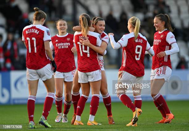 Jill Roord of Arsenal FC celebrates with teammates after scoring their sides second goal during the Barclays FA Women's Super League match between...