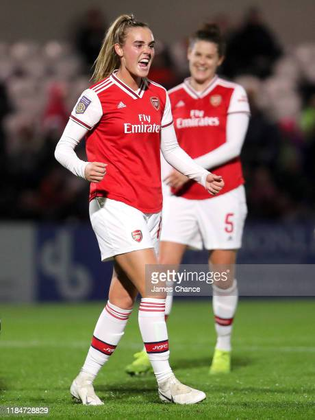 Jill Roord of Arsenal Women celebrates after scoring her sides third goal during the UEFA Women's Champions League Round of 16 Second Leg match...