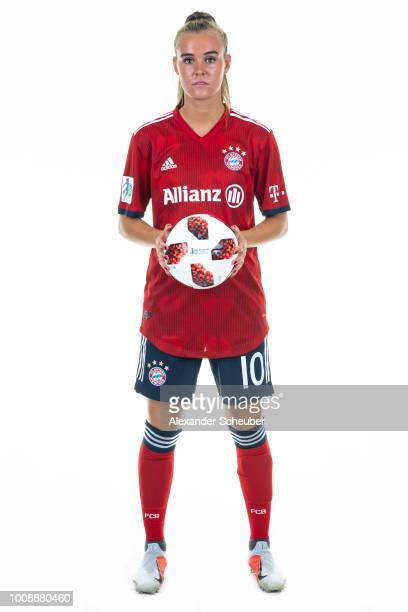 Jill Roord of Bayern Muenchen poses during the FC Bayern Muenchen Women's team presentation at FC Bayern Muenchen Campus on July 30 2018 in Munich...
