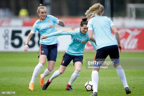 Jill Roord of Holland Women Merel van Dongen of Holland Women during the Training Holland Women at the KNVB Campus on April 3 2018 in Zeist...