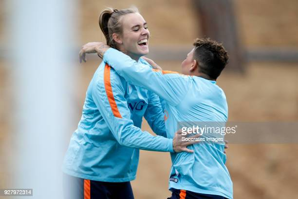 Jill Roord of Holland Women Shanice van de Sanden of Holland Women during the Training Holland Women at the The Campus on March 6 2018 in Quinta do...