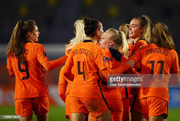 Jill Roord of Netherlands celebrates with her team mates after scoring her sides second goal during the UEFA Women's EURO 2022 qualifier match...