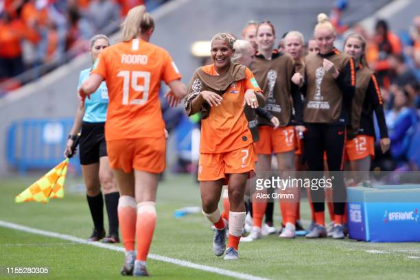 Jill Roord of the Netherlands celebrates with team mate Shanice van de Sanden after scoring her team's first goal during the 2019 FIFA Women's World...