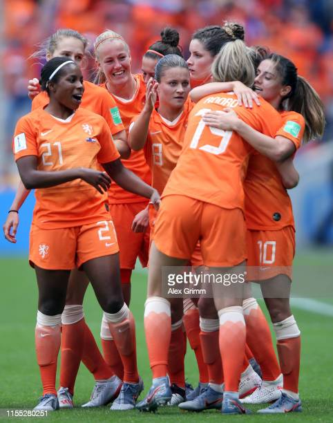 Jill Roord of the Netherlands celebrates with team mates after scoring her team's first goal during the 2019 FIFA Women's World Cup France group E...