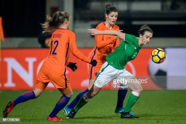 Jill Roord of The Netherlands Dominique Janssen of the Netherlands Karen Duggan of Ireland during the FIFA Women's World Championship Qualifier match...