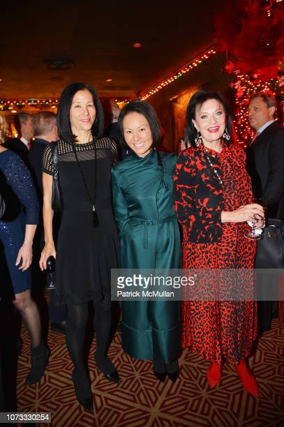 Jill Roosevelt Alina Cho and Marina Maher attend George Farias Anne Jay McInerney Host A Holiday Party at The Doubles Club on December 13 2018 in New...
