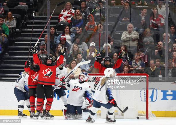 Jill Saulnier of the Canadian Women's National Team scores in the first period against the U.S. Women's Hockey Team at Honda Center on February 08,...