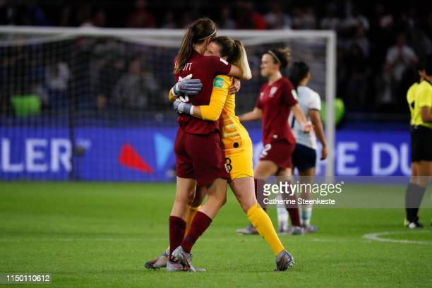 Jill Scott and Carly Telford of England celebrates the victory of the 2019 FIFA Women's World Cup France group D match between England and Argentina...