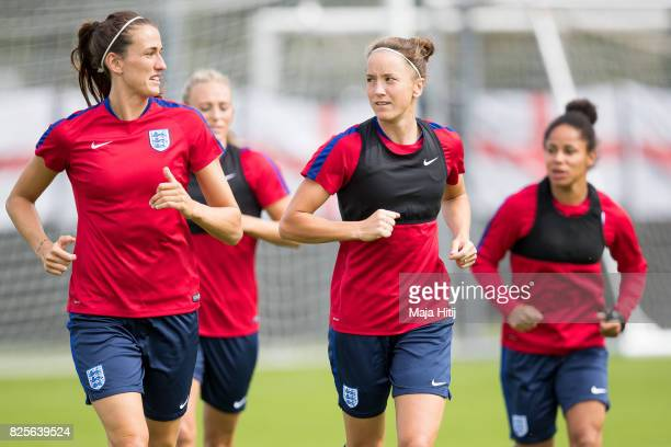 Jill Scott and Casey Stoney run during the England Training Session at Sporting 70 on August 2 2017 in Utrecht Netherlands