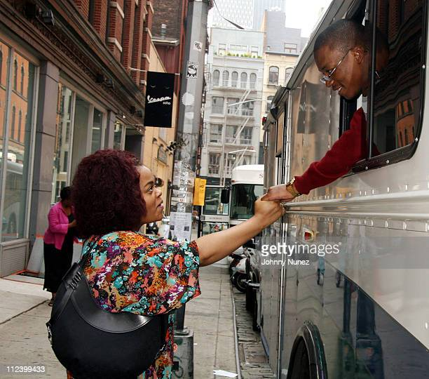 Jill Scott and Lupe Fiasco during Lupe Fiasco and Jill Scott on the Set of Lupe Video Shoot Day Dreaming July 26 2006 in New York City New York...