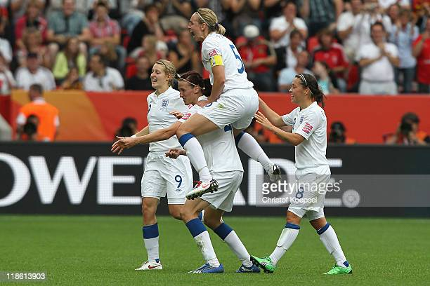 Jill Scott celebrates the first goal with Ellen White of England Faye White of England and Fara Williams of England during the FIFA Women's World Cup...