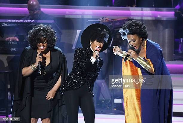Jill Scott Janelle Monae and India Arie perform onstage during the Stevie Wonder Songs In The Key Of Life An AllStar GRAMMY Salute held at Nokia...
