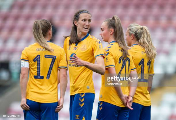 Jill Scott, Lucy Graham, Claire Emslie and Megan Finnigan of Everton form a defensive wall during the Barclays FA Women's Super League match between...