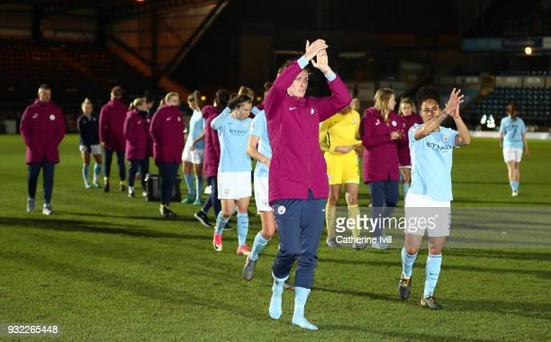 Jill Scott nad Demi Stokes of Manchester City Ladies lead the applause after losing the WSL Continental Cup Final between Arsenal Women and...