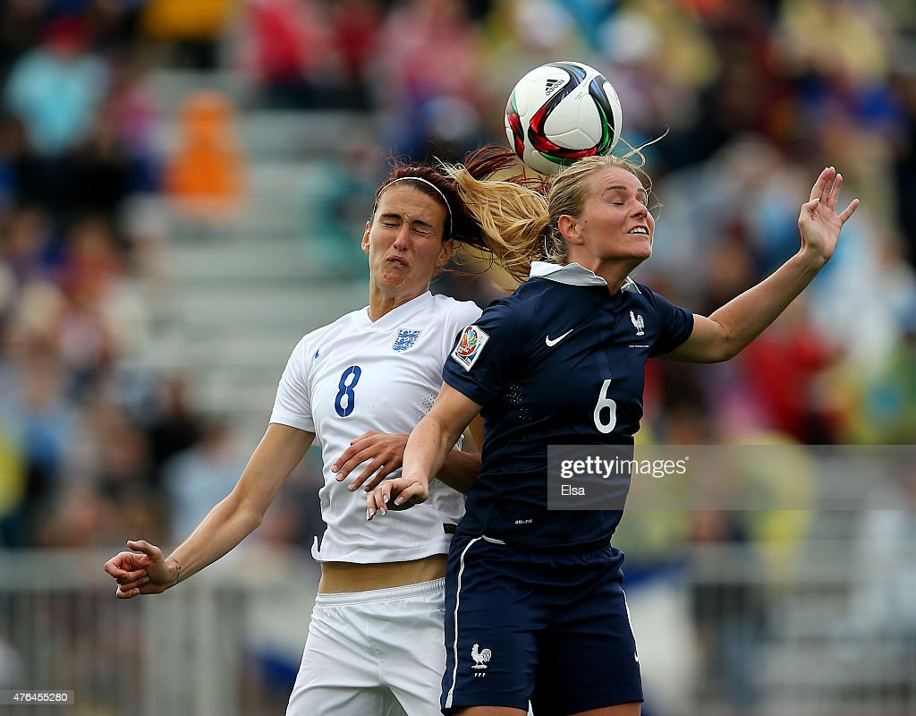 Jill Scott #8 of England and Amandine Henry #6 of France head the ball in the second half during the FIFA Women's World Cup 2015 Group F match at Moncton Stadium on June 9, 2015 in Moncton, Canada.