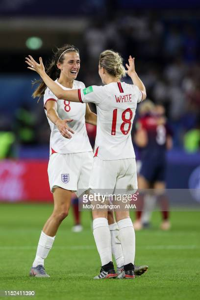 Jill Scott of England and Ellen White of England celebrate at full time during the 2019 FIFA Women's World Cup France Quarter Final match between...
