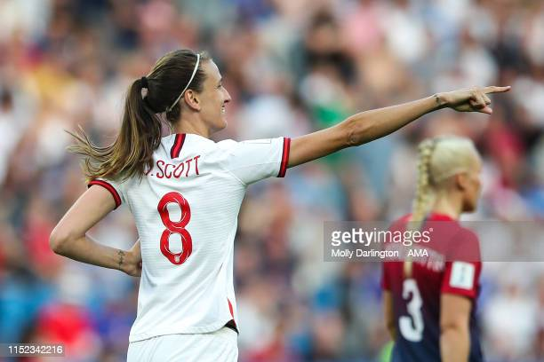 Jill Scott of England celebrates after scoring a goal to make it 01 during the 2019 FIFA Women's World Cup France Quarter Final match between Norway...