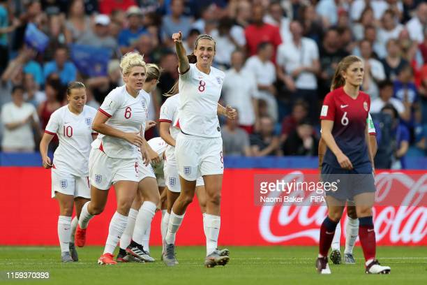 Jill Scott of England celebrates after scoring her sides first goal during the 2019 FIFA Women's World Cup France Quarter Final match between Norway...