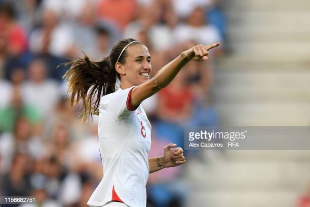 Jill Scott of England celebrates after scoring her team's first goal during the 2019 FIFA Women's World Cup France Quarter Final match between Norway...