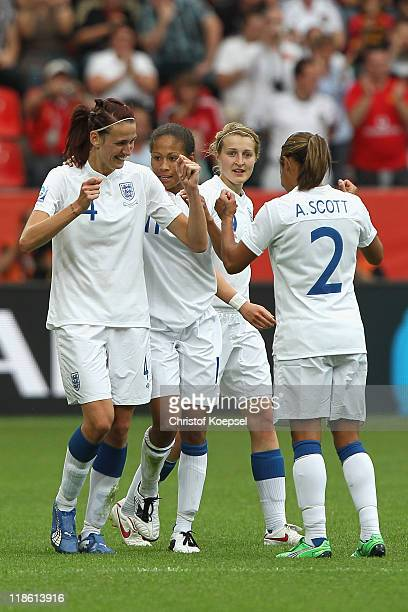 Jill Scott of England celebrates the first goal with Rachel Yankey of England Faye White and Alex Scott of England during the FIFA Women's World Cup...