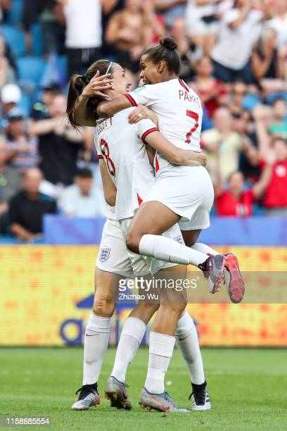 Jill Scott of England celebrates the goal with teammates during the 2019 FIFA Women's World Cup France Quarter Final match between Norway and England...
