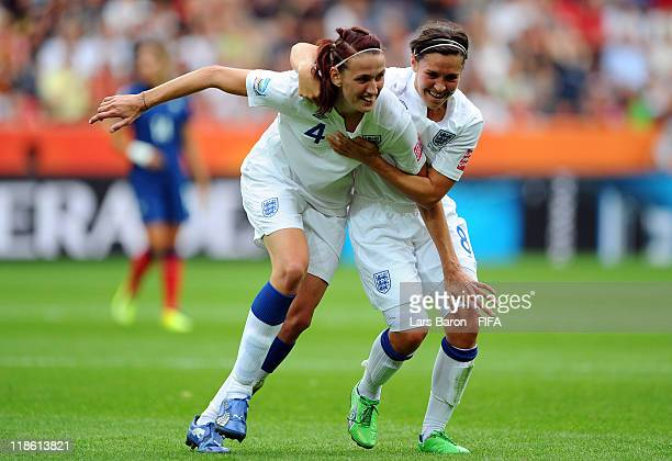 Jill Scott of England celebrates with team mate Fara Williams after scoring his teams first goal during the FIFA Women's World Cup 2011 Quarter Final...