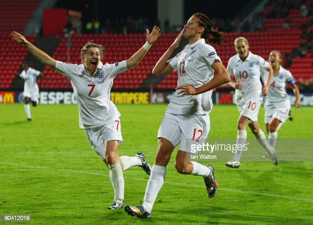 Jill Scott of England celebrates with team mates Karen Carney after scoring the winning goal during the UEFA Women's Euro 2009 SemiFinal match...