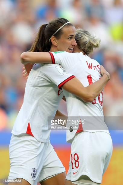Jill Scott of England celebrates with teammate Ellen White after scoring her team's first goal during the 2019 FIFA Women's World Cup France Quarter...